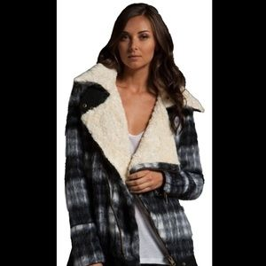 Free people Sherpa black and white plaid more coat